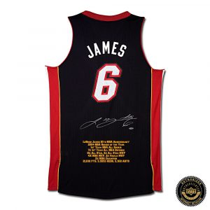 LeBron James Signed Miami Heat 10th Anniversary Black Stats Jersey-0