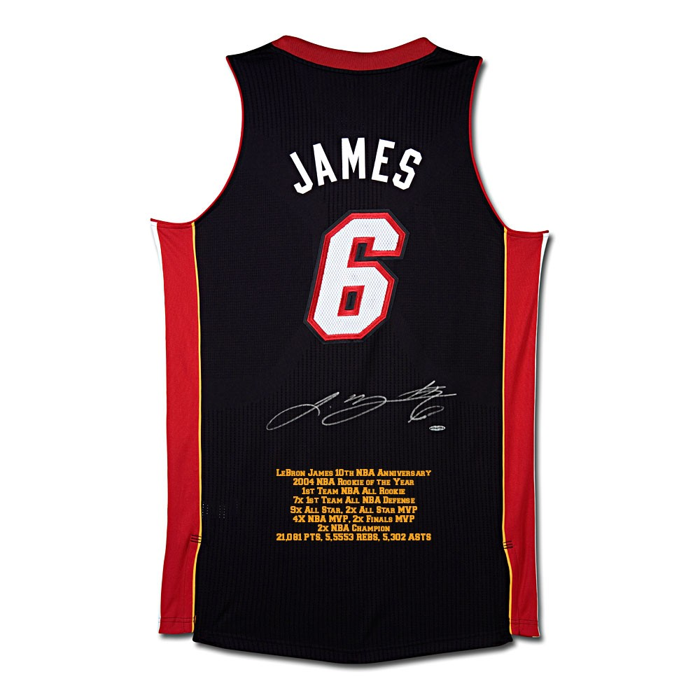 huge selection of defc0 5b94c LeBron James Signed Miami Heat 10th Anniversary Black Stats Jersey