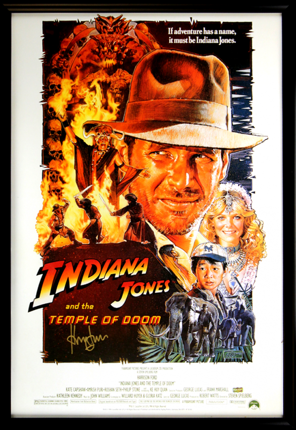 Harrison Ford Signed Indiana Jones And The Temple Of Doom - Whole Cast 27x40 Framed Movie Poster-0