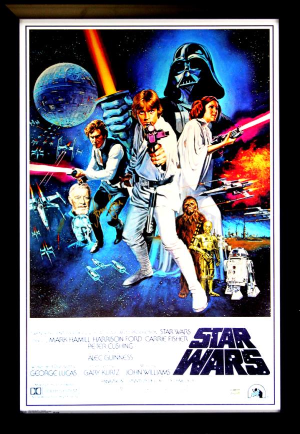 Harrison Ford Signed Star Wars Episode IV A New Hope 22x34 White Framed Movie Poster-0