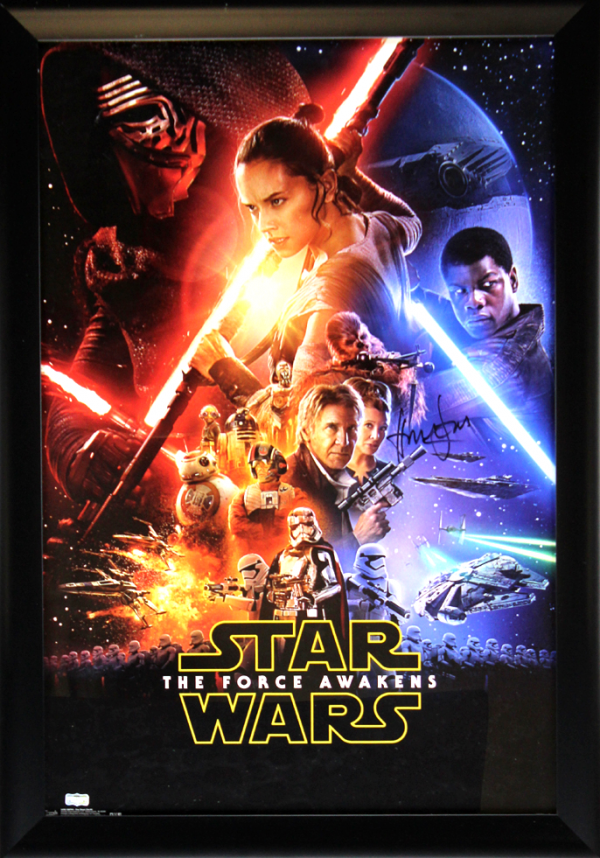 Harrison Ford Signed Star Wars The Force Awakens 22x34 Framed Movie Poster-0