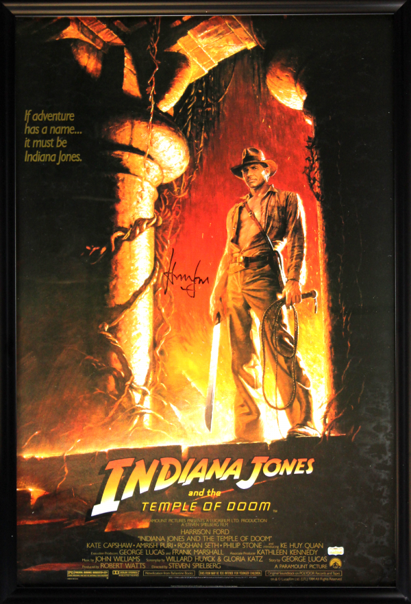 Harrison Ford Signed Indiana Jones And The Temple Of Doom 27x40 Framed Movie Poster-0