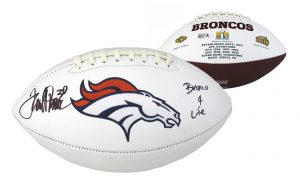 "Terrell Davis Signed Denver Broncos Embroidered Football With ""Broncos 4 Life"" Inscription-0"