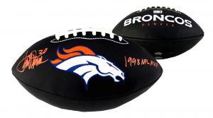 "Terrell Davis Signed Denver Broncos Black Embroidered Football With ""1998 NFL MVP"" Inscription-0"