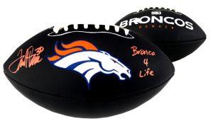 "Terrell Davis Signed Denver Broncos Black Embroidered Football With ""Broncos 4 Life"" Inscription-0"