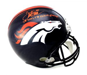 "Terrell Davis Signed Denver Broncos Riddell Full Size NFL Helmet With ""SB XXX, SB XXXIII Champs"" Inscription-0"