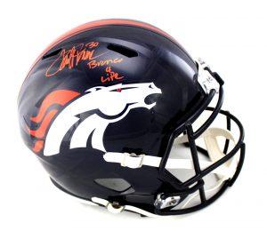 "Terrell Davis Signed Denver Broncos Full Size NFL Speed Helmet With ""Broncos 4 Life"" Inscription-0"