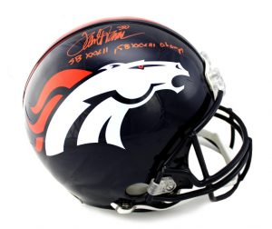 "Terrell Davis Signed Denver Broncos Authentic NFL Helmet With ""SB XXXII, SB XXXIII Champs"" Inscription-0"