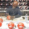 "Terrell Davis Signed Denver Broncos Riddell Throwback NFL Mini Orange Helmet With ""HOF 17"" Inscription-28627"