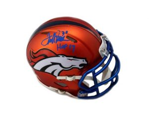 """Terrell Davis Signed Denver Broncos Riddell NFL Mini Blaze Helmet With """"HOF 17"""" Inscription-0"""