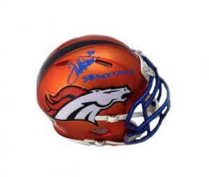 "Terrell Davis Signed Denver Broncos Riddell NFL Mini Blaze Helmet With ""SB XXXII MVP"" Inscription-0"