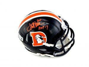 """Terrell Davis Signed Denver Broncos Riddell Speed NFL Mini Color Rush Helmet With """"HOF 17"""" Inscription-0"""