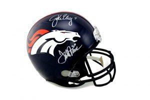 John Elway & Terrell Davis Signed Denver Broncos Riddell Full Size Helmet-0
