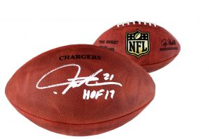 """LaDainian Tomlinson Signed San Diego Chargers Riddell Authentic NFL Helmet With """"HOF17"""" Inscription-0"""