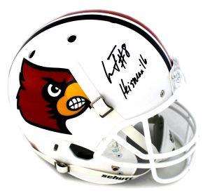 """Lamar Jackson Signed Lousiville Cardinals Full Size Schutt NCAA Helmet With """"Heisman 16"""" Inscription -0"""