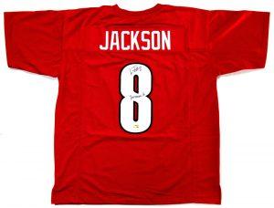 "Lamar Jackson Signed Lousiville Cardinals Custom Red Jersey With ""Heisman 16"" Inscription-0"
