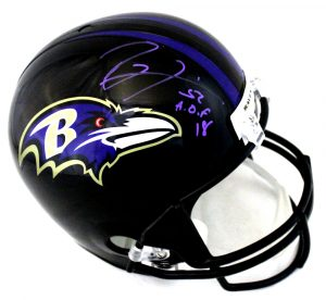"Ray Lewis Signed Baltimore Ravens Full Size NFL Black Helmet With ""HOF 18"" Inscription-0"