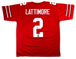 "Marshon Lattimore Signed Ohio State Buckeyes Red Custom Jersey with ""Go Bucks!"" Inscription-0"