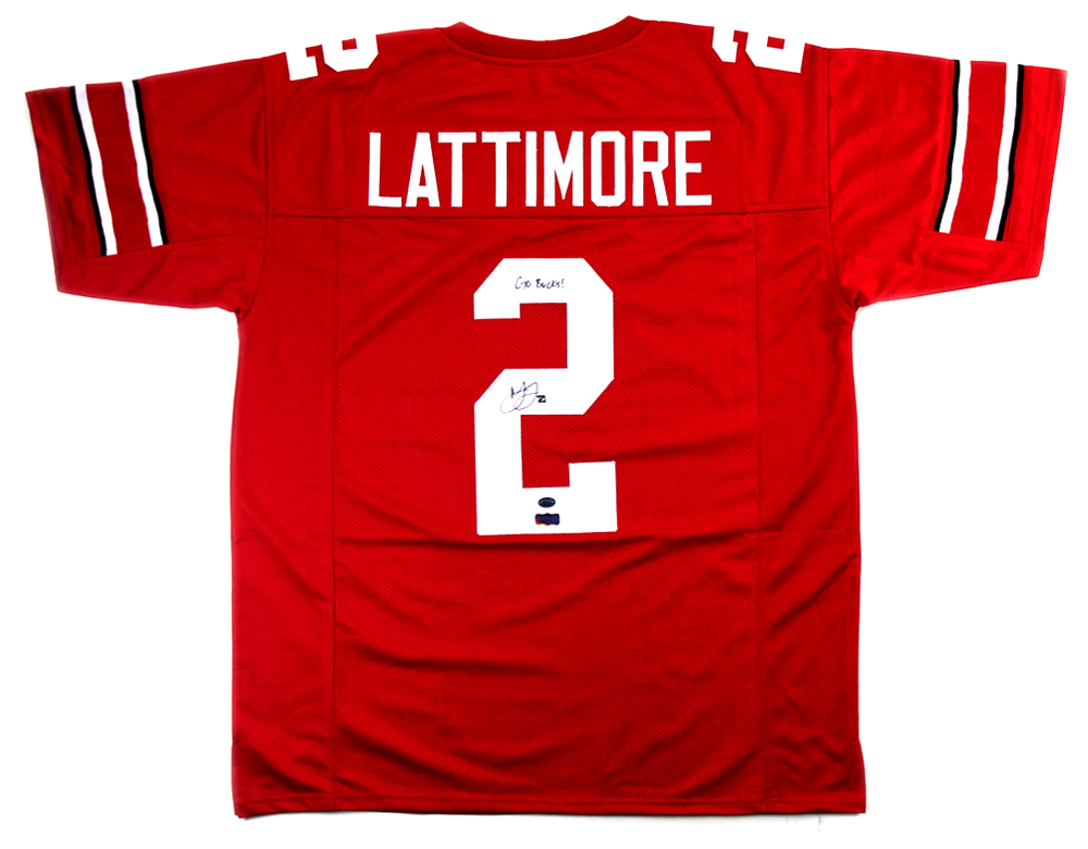 low priced 0ccd5 4f748 Marshon Lattimore Signed Ohio State Buckeyes Red Custom Jersey with