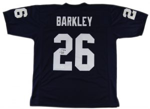 Saquon Barkley Autographed/Signed Penn State Nittany Lions Custom Navy Blue Home Jersey-0