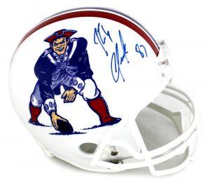 Rob Gronkowski Signed New England Patriots Riddell Throwback Full Size NFL Helmet - White Mask -0