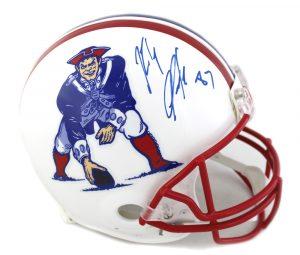 Rob Gronkowski Signed New England Patriots Riddell Throwback Full Size NFL Helmet - Red Mask-0