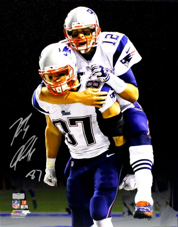 Rob Gronkowski Signed New England Patriots Stretched 16x20 NFL Wall Mount Canvas - With Tom Brady-0