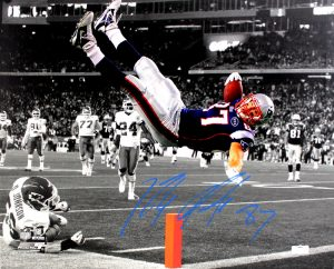 Rob Gronkowski Signed New England Patriots Stretched 16x20 NFL Wall Mount Canvas - Spotlight Pylon-0
