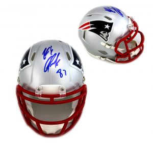 Rob Gronkowski Autographed/Signed New England Patriots Riddell NFL Speed Mini Helmet-0