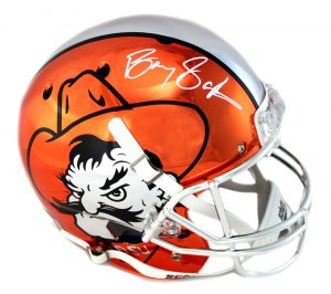 Barry Sanders Signed Oklahoma State Cowboys Orange Chrome Schutt Full Size NCAA Helmet-0