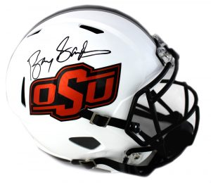 Barry Sanders Signed Oklahoma State Cowboys Full Size NCAA Speed Grey Helmet-0