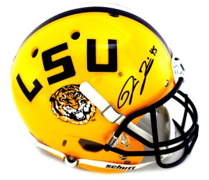 Deion Jones Signed LSU Tigers Schutt Yellow NCAA Helmet -0