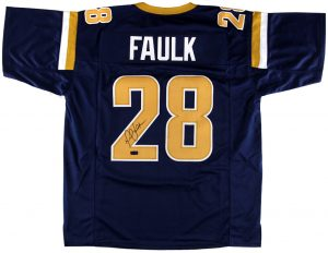 Marshall Faulk Signed St. Louis Rams Navy Custom Jersey-0