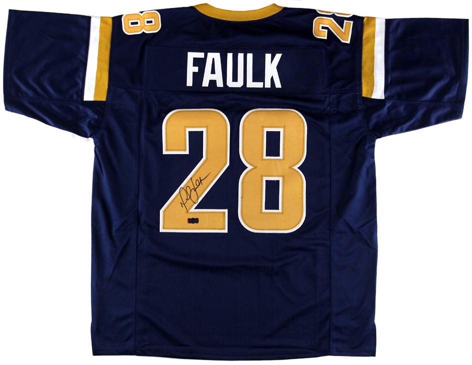 4561a116 Marshall Faulk Signed St. Louis Rams Navy Custom Jersey