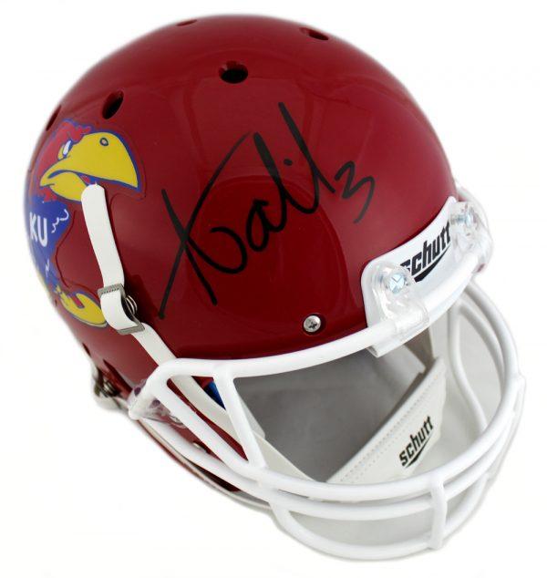 Aqib Talib Signed NCAA University Of Kansas Jayhawks Schutt Full Size Red Helmet-0
