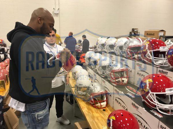 Aqib Talib Signed NCAA University Of Kansas Jayhawks Schutt Full Size Red Helmet-32592