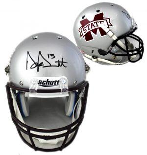 Dak Prescott Signed Mississippi State Bulldogs Schutt Full Size NCAA Silver Helmet-0