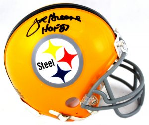 "Joe Greene Signed Pittsburgh Steelers Riddell Yellow Throwback NFL Mini Helmet with ""HOF 87"" Inscription-0"