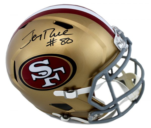 Jerry Rice Signed San Francisco 49ers Full Size NFL Speed Helmet-0