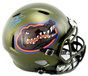 Emmitt Smith Signed Florida Gators Schutt Full Size Swamp Green NCAA Helmet-0