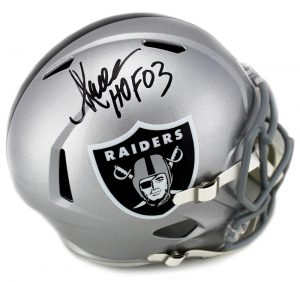 "Marcus Allen Signed Oakland Raiders Full Size NFL Speed Helmet With ""HOF03"" Inscription-0"