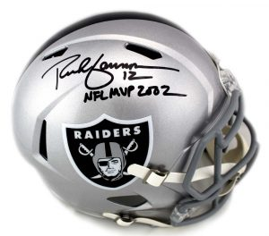 "Rich Gannon Signed Oakland Raiders Speed NFL Helmet with ""NFL MVP 2002"" Inscription-0"