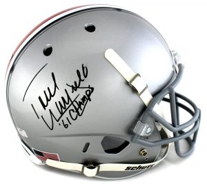 "Paul Warfield Signed Oho State Buckeyes Schutt Full Size NCAA Helmet With ""61 Champs"" Inscription -0"