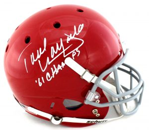 "Paul Warfield Signed Oho State Buckeyes Schutt Full Size NCAA Red Helmet With ""61 Champs"" Inscription-0"