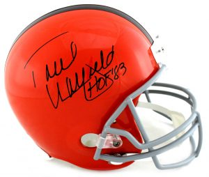 """Paul Warfield Signed Cleveland Brown Riddell Throwback Full Size NFL Helmet With """"HOF 83"""" Inscription-0"""