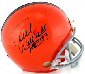 "Paul Warfield Signed Cleveland Brown Riddell Throwback Authentic NFL Helmet With ""HOF 83"" Inscription-0"