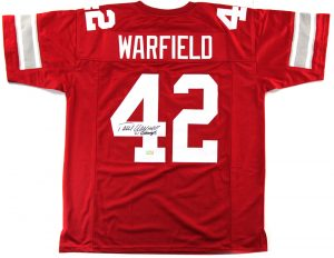 "Paul Warfield Signed Ohio State Custom Red Jersey with ""61 Champs"" Inscription -0"
