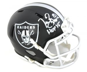 "Tim Brown Signed Oakland Raiders NFL Blaze Mini Helmet With ""HOF 15"" Inscription-0"