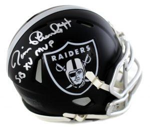 "Jim Plunkett Signed Oakland Raiders Riddell NFL Blaze Mini Helmet with ""SB VX MVP"" Inscription-0"