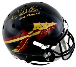 "Chris Weinke Signed Florida State Seminoles Schutt Black Full Size Helmet with ""Heisman 2000"" Inscription-0"